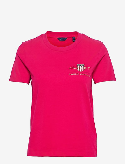 ARCHIVE SHIELD SS T-SHIRT - t-shirts - raspberry red