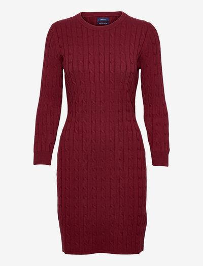 STRETCH COTTON CABLE DRESS - robes moulantes - cabernet red