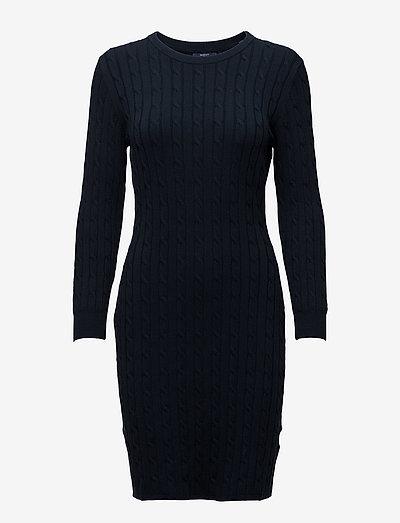 STRETCH COTTON CABLE DRESS - robes moulantes - evening blue
