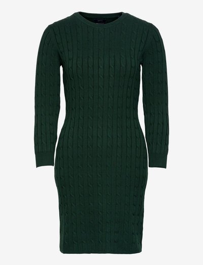 STRETCH COTTON CABLE DRESS - robes moulantes - tartan green