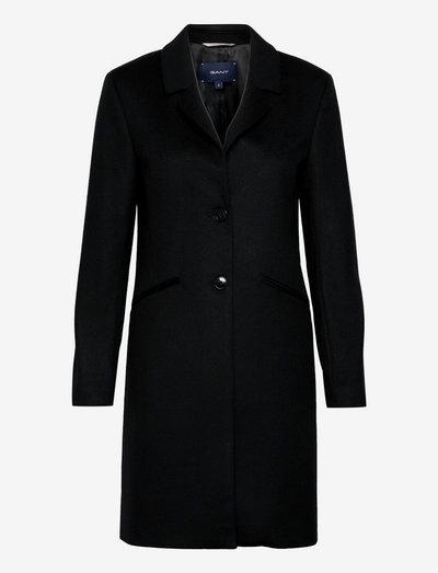 D1. CLASSIC TAILORED WOOL COAT - manteaux en laine - black