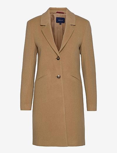 D1. CLASSIC TAILORED WOOL COAT - manteaux en laine - dark khaki