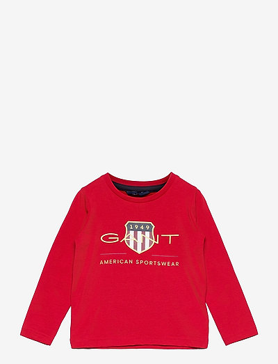 ARCHIVE SHIELD LS T-SHIRT - long-sleeved - equestrian red