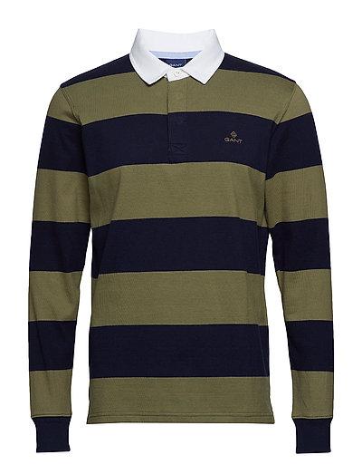 O1. Barstripe Ls Rugger Polos Long-sleeved Grün GANT