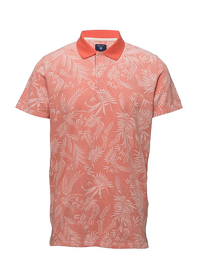 O2. LEAF PRINT PIQUE SS RUGGER - STRONG CORAL