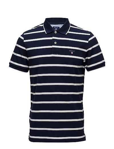 O1. Breton Stripe Pique Ss Rugger Polos Short-sleeved Blau GANT