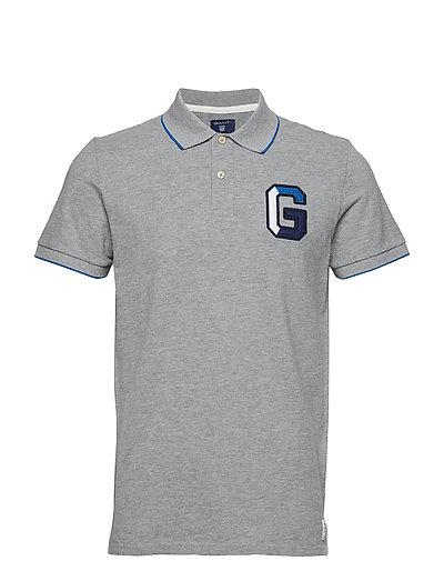 O1. G Application Pique Ss Rugger Polos Short-sleeved Grau GANT