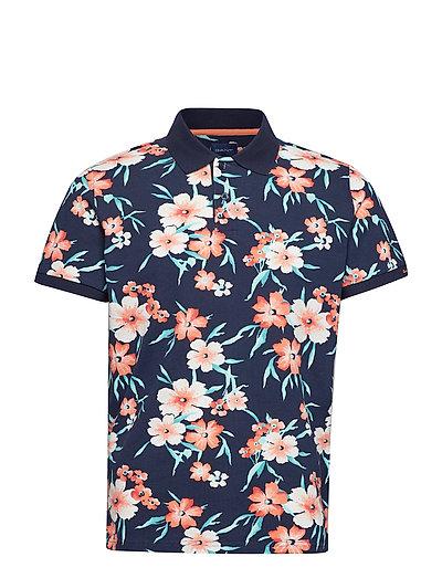 O2. All Over Floral Pique Ss Rugger Polos Short-sleeved Blau GANT