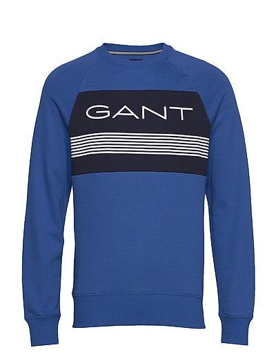 D1. Gant Stripe C-Neck Sweat Sweat-shirt Pullover Blau GANT