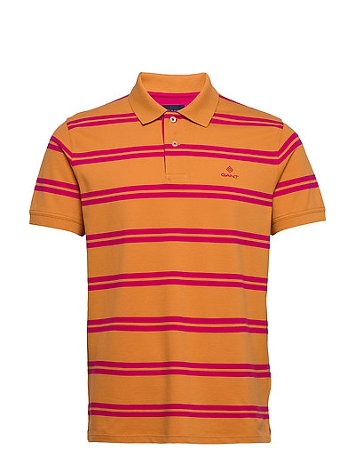 D1. Contrast Stripe Collar Polos Short-sleeved Orange GANT | GANT SALE