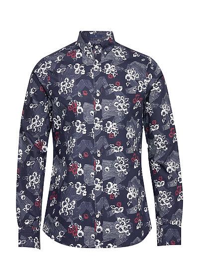 D1. Line Shirt Hero Print Slim Bd Hemd Casual Blau GANT