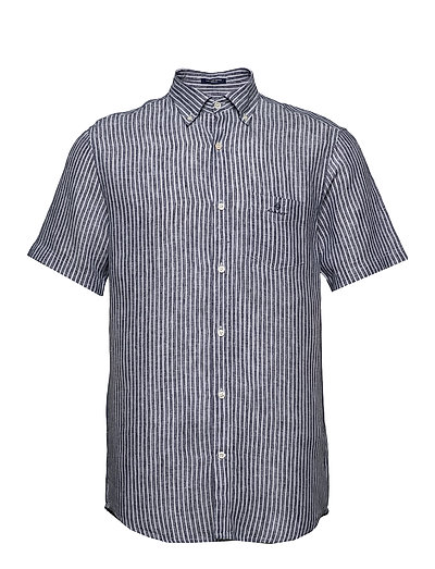 The Linen Stripe Reg Ss Bd Kurzärmliges Hemd Blau GANT