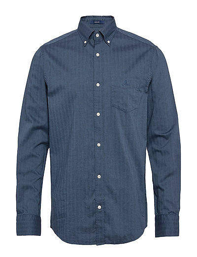 D1. Herringb Solid Reg Bd Hemd Casual Blau GANT