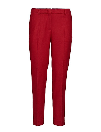 O1.WASHABLE FLANNEL SLIM PANTS - RED