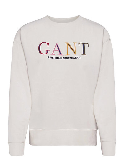 D1. Color Graphic C-Neck Sweat Sweat-shirt Pullover Weiß GANT | GANT SALE