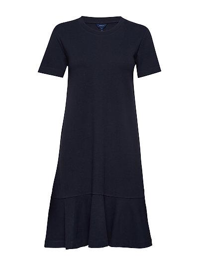 D1. Flounce Detail Jersey Dress Kleid Knielang Blau GANT
