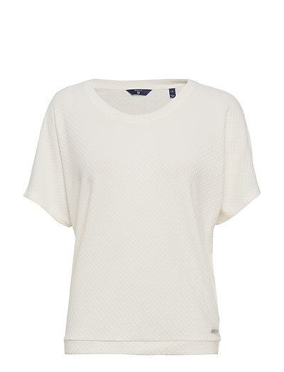 O1. Small Square Pattern C-Neck Top T-Shirt Top Weiß GANT