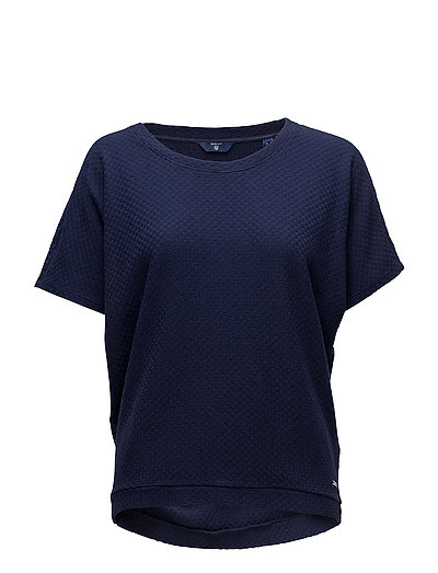 O1. Small Square Pattern C-Neck Top T-Shirt Top Blau GANT