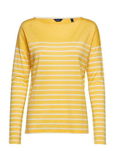 O1. Light Weight Striped Top Langärmliges T-Shirt Gelb GANT