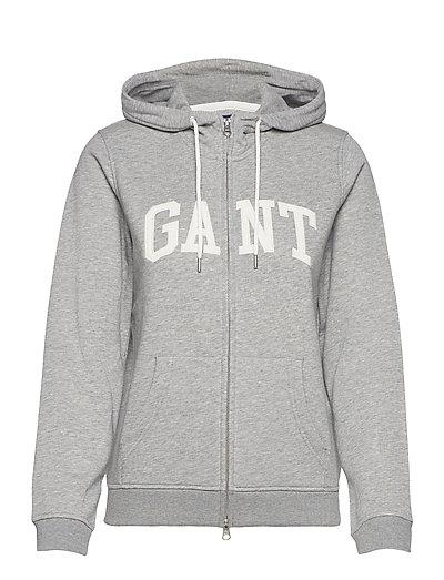 Arch Logo Zip Hoodie Hoodie Pullover Grau GANT | GANT SALE