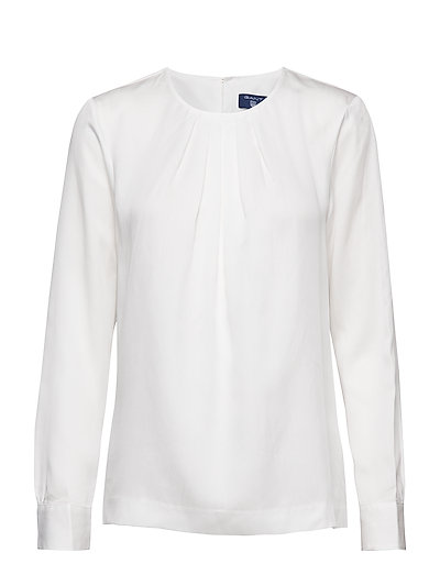 O1. FEATHERWEIGHT SOLID BLOUSE - EGGSHELL