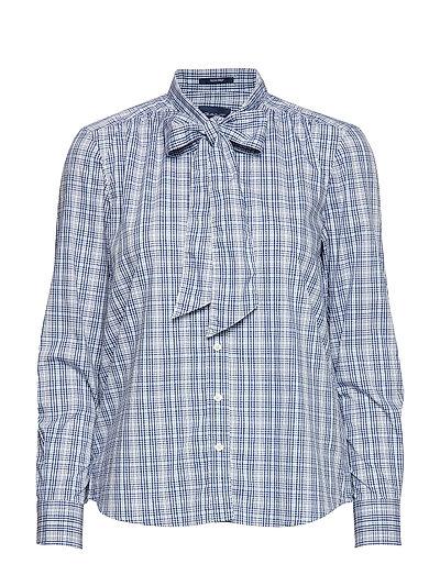 D1. Tp Checked Bow Blouse Langärmliges Hemd Blau GANT | GANT SALE
