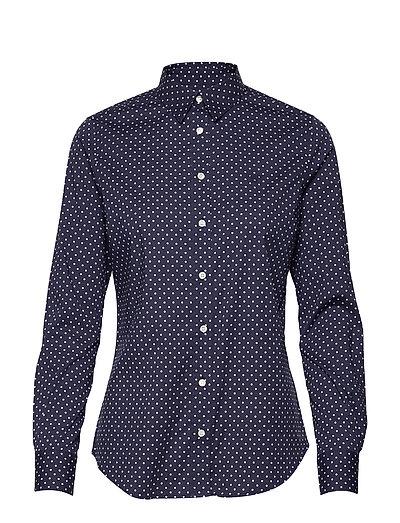 O1. Stretch Broadcloth Polkadot Shi Langärmliges Hemd Blau GANT