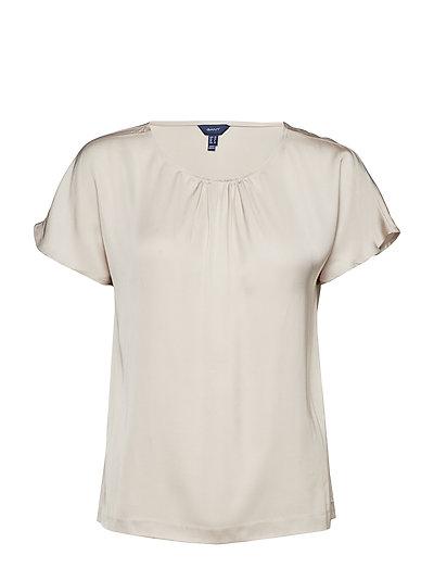 O1. Silky Blouse Blouses Short-sleeved Creme GANT