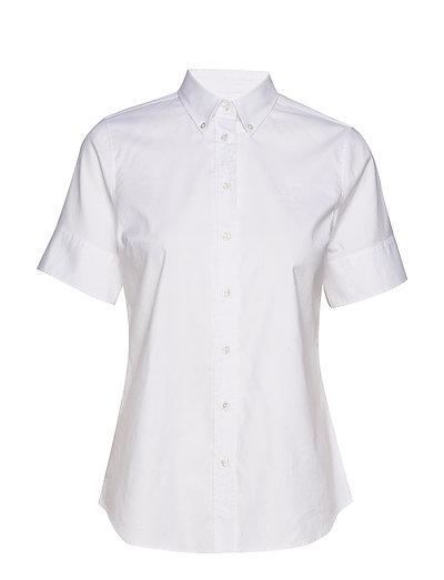 Stretch Oxford Solid Ss Shirt Kurzärmliges Hemd Weiß GANT