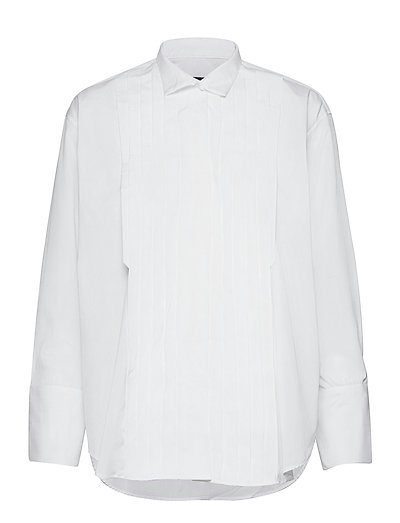 D2. Pleated Tuxedo Shirt Langärmliges Hemd Weiß GANT