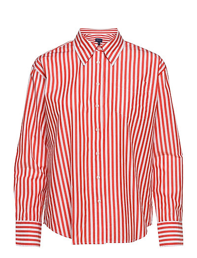 D1. Crisp Cotton Relaxed Shirt Langärmliges Hemd Rot GANT | GANT SALE
