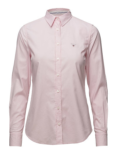 Stretch Oxford Solid Langärmliges Hemd Pink GANT