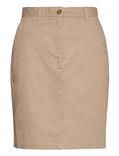 D1. Classic Chino Skirt Knielanges Kleid Beige GANT