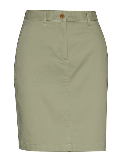 D1. Classic Chino Skirt Knielanges Kleid Grün GANT