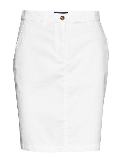 D1. Classic Chino Skirt Knielanges Kleid Weiß GANT