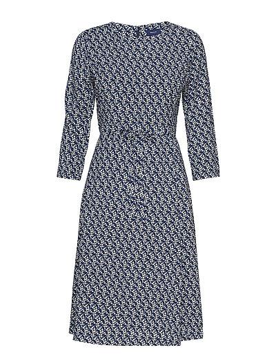 D1. Autumn Print Dress Kleid Knielang Blau GANT