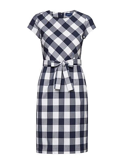 D1. Fitted Gingham Dress Kleid Knielang Blau GANT
