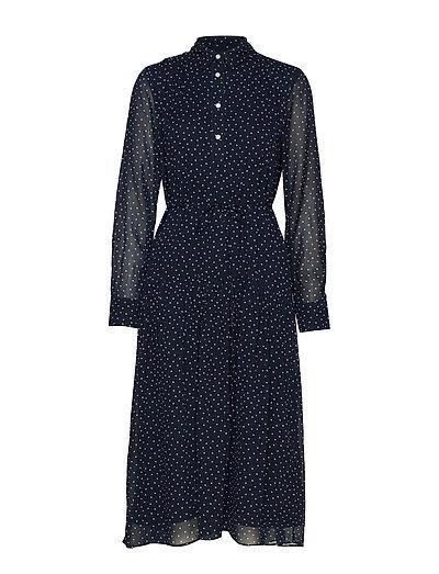 D1. French Dot Chiffon Dress Kleid Knielang Blau GANT