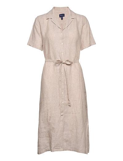 D2. Linen Chambray Ss Shirt Dress Kleid Knielang Beige GANT