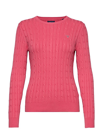 Stretch Cotton Cable C-Neck Strickpullover Pink GANT
