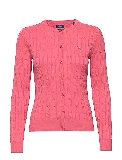 Stretch Cotton Cable Crew Cardigan Cardigan Strickpullover Pink GANT