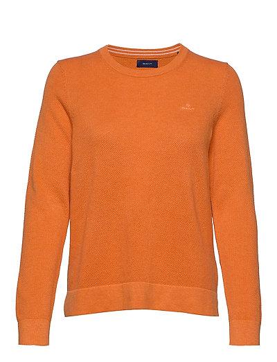 Cotton Pique C-Neck Strickpullover Orange GANT