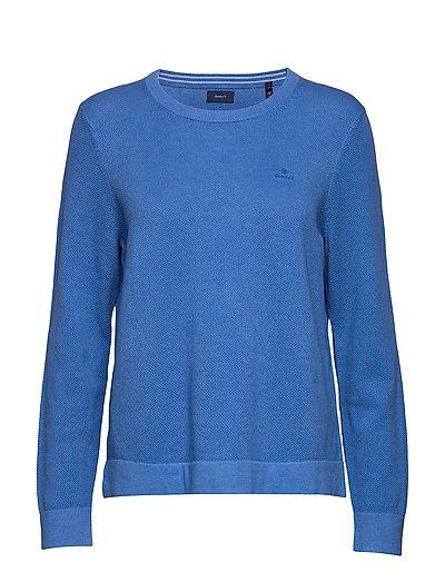 Cotton Pique C-Neck Strickpullover Blau GANT
