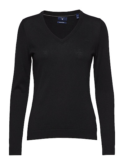 COTTON WOOL V-NECK - BLACK