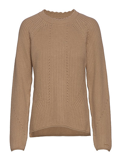 D1. Detail Knitted Cotton Crew Strickpullover Beige GANT | GANT SALE