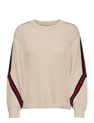 D1. Striped Detail Sleeve Strickpullover Creme GANT | GANT SALE