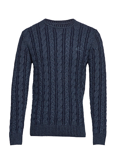 D2. Winter Faded Cable Crew Strickpullover Rundhals Blau GANT