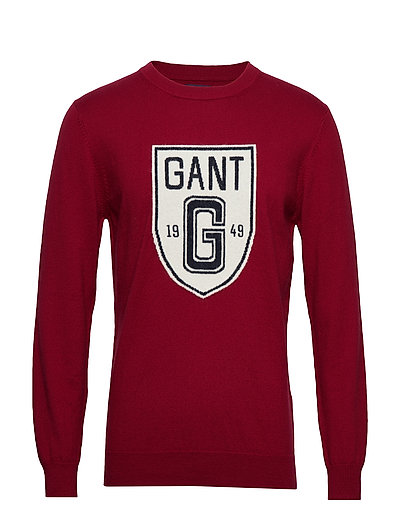 D2. Holiday Intarsia Shield Crew Sweat-shirt Pullover Rot GANT