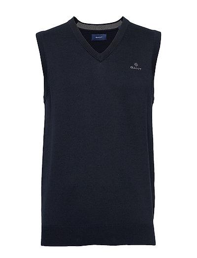 Classic Cotton Slipover Strickpullover V-Ausschnitt Blau GANT