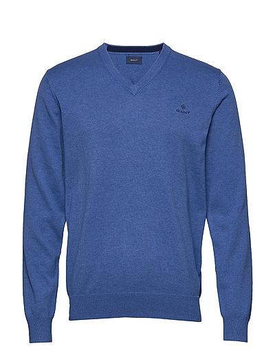 Classic Cotton V-Neck Strickpullover V-Ausschnitt Blau GANT